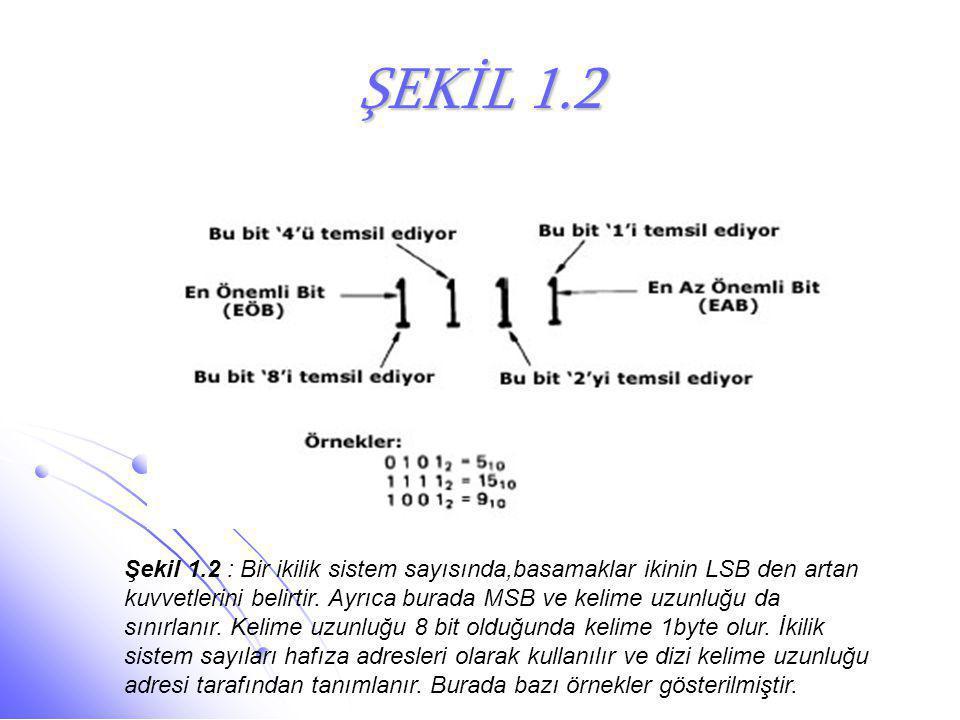 ŞEKİL 1.2 Şekil 1.2 : Bir ikilik sistem sayısında,basamaklar ikinin LSB den artan kuvvetlerini belirtir. Ayrıca burada MSB ve kelime uzunluğu da sınır