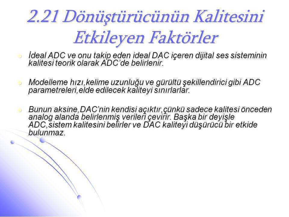 2.21 Dönüştürücünün Kalitesini Etkileyen Faktörler  İdeal ADC ve onu takip eden ideal DAC içeren dijital ses sisteminin kalitesi teorik olarak ADC'de