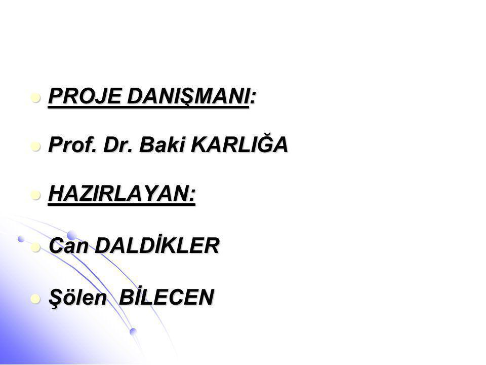  PROJE DANIŞMANI:  Prof. Dr. Baki KARLIĞA  HAZIRLAYAN:  Can DALDİKLER  Şölen BİLECEN
