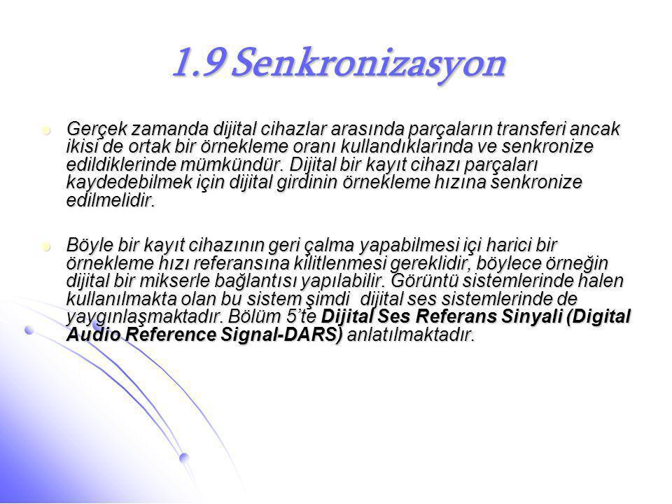 1.9 Senkronizasyon  Gerçek zamanda dijital cihazlar arasında parçaların transferi ancak ikisi de ortak bir örnekleme oranı kullandıklarında ve senkro