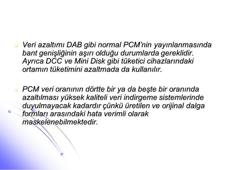  Veri azaltımı DAB gibi normal PCM'nin yayınlanmasında bant genişliğinin aşırı olduğu durumlarda gereklidir. Ayrıca DCC ve Mini Disk gibi tüketici ci