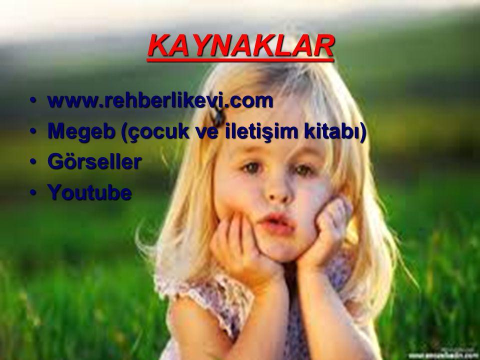 KAYNAKLAR •www.rehberlikevi.com •Megeb (çocuk ve iletişim kitabı) •Görseller •Youtube