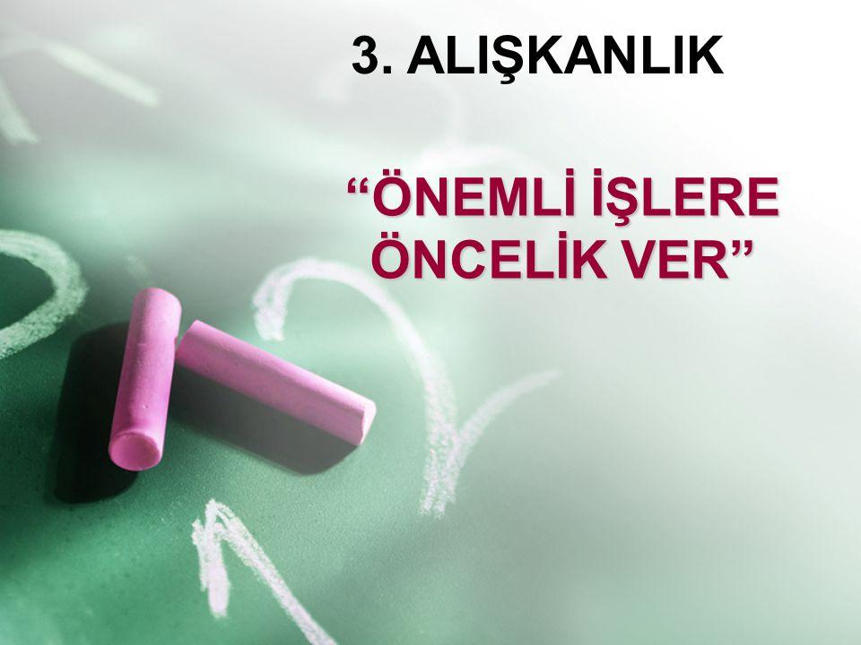 """3. ALIŞKANLIK """"ÖNEMLİ İŞLERE ÖNCELİK VER"""""""