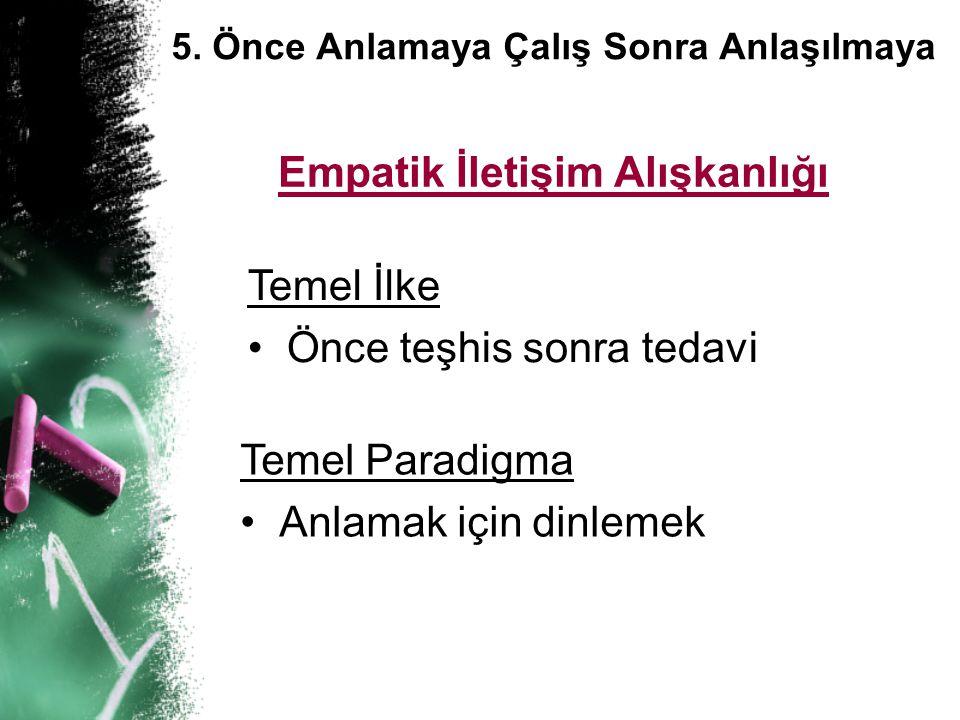 5. Önce Anlamaya Çalış Sonra Anlaşılmaya Empatik İletişim Alışkanlığı Temel İlke • • Önce teşhis sonra tedavi Temel Paradigma • •Anlamak için dinlemek