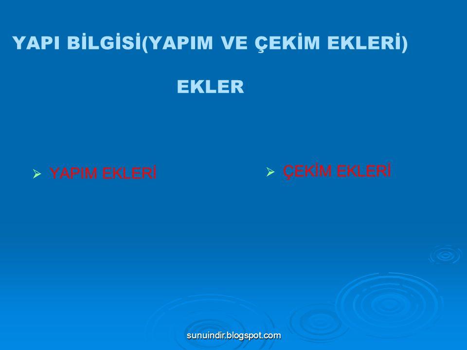 sunuindir.blogspot.com : ÇEKİM EKLERİ Çekim ekleri iki ana gruba ayrılır:   İSİM ÇEKİM EKLERİ 1.