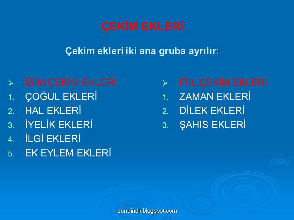 sunuindir.blogspot.com 3)Fiilden İsim Yapan Ekler (DEVAMI): --mak: gelmek, gitmek --tı: belir—ti, kızar—tı,