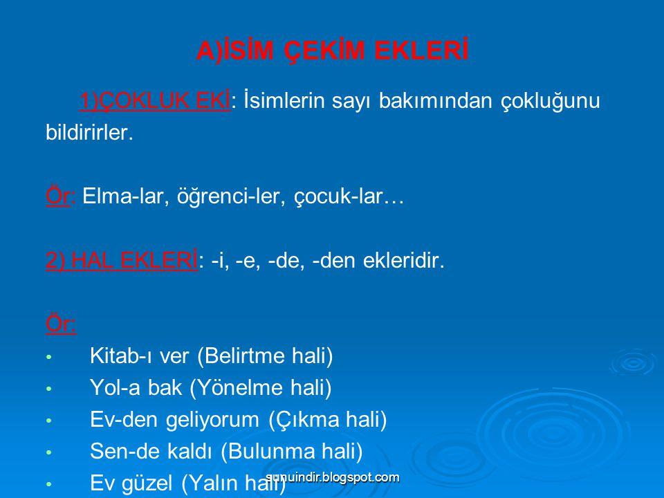 sunuindir.blogspot.com 4)Fiilden Fiil Yapan Ekler (DEVAMI): --imsa: gül—ümse, an—ımsa, --ın: gez—in, gör—ün, sev—in, taşı—n, --r: kaç—ır, bat—ır, iç—ir,, --ş: gör—üş, uç—uş, gül—üş,