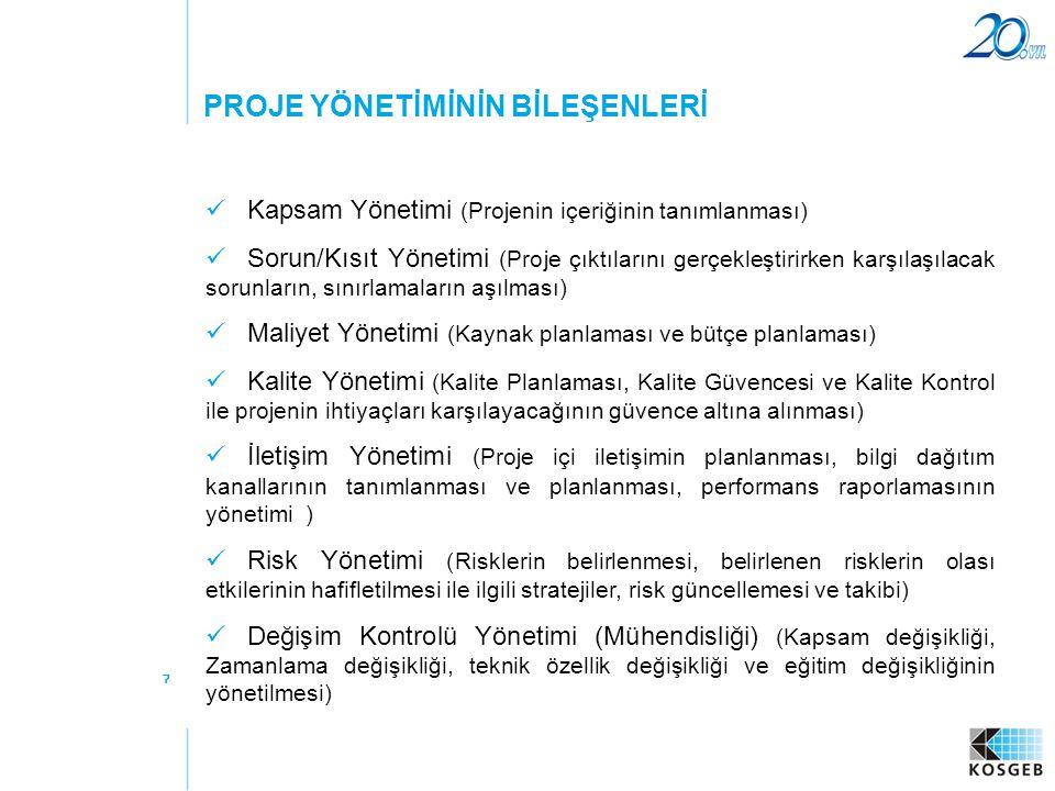 7  Kapsam Yönetimi (Projenin içeriğinin tanımlanması)  Sorun/Kısıt Yönetimi (Proje çıktılarını gerçekleştirirken karşılaşılacak sorunların, sınırlam