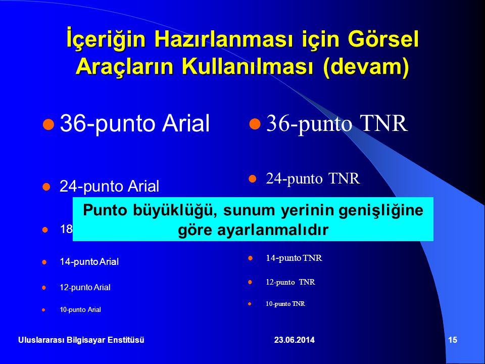 23.06.201415 İçeriğin Hazırlanması için Görsel Araçların Kullanılması (devam)  36-punto Arial  24-punto Arial  18-punto Arial  14-punto Arial  12