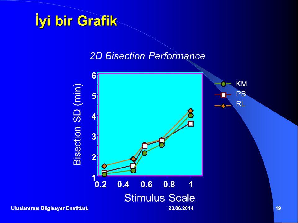 23.06.201419 İyi bir Grafik 2D Bisection Performance 1 2 3 4 5 6 0.20.40.60.81 Stimulus Scale Bisection SD (min) KM PB RL Uluslararası Bilgisayar Enst