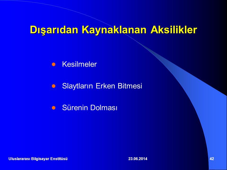 23.06.201442 Dışarıdan Kaynaklanan Aksilikler  Kesilmeler  Slaytların Erken Bitmesi  Sürenin Dolması Uluslararası Bilgisayar Enstitüsü