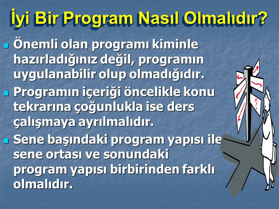 İyi Bir Program Nasıl Olmalıdır?  İdeal program, uygulanabilen programdır.  Ağır değil, esnek bir yapıda olmalıdır.  Aynı güne ait dersler içeriği