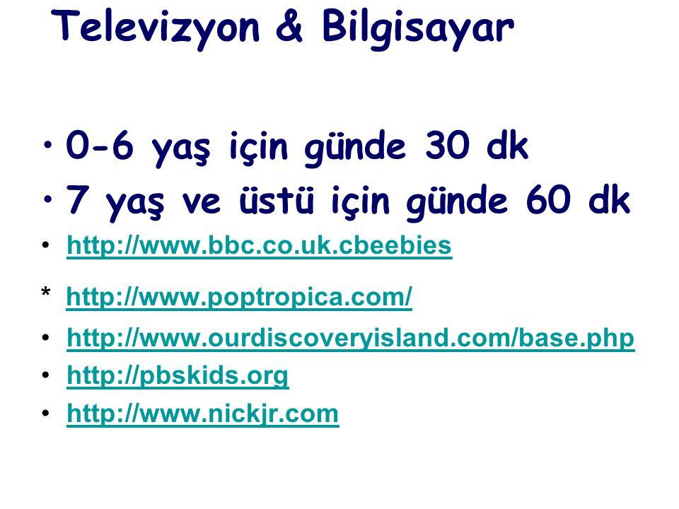 Televizyon & Bilgisayar •0-6 yaş için günde 30 dk •7 yaş ve üstü için günde 60 dk •http://www.bbc.co.uk.cbeebieshttp://www.bbc.co.uk.cbeebies * http://www.poptropica.com/http://www.poptropica.com/ •http://www.ourdiscoveryisland.com/base.phphttp://www.ourdiscoveryisland.com/base.php •http://pbskids.orghttp://pbskids.org •http://www.nickjr.comhttp://www.nickjr.com