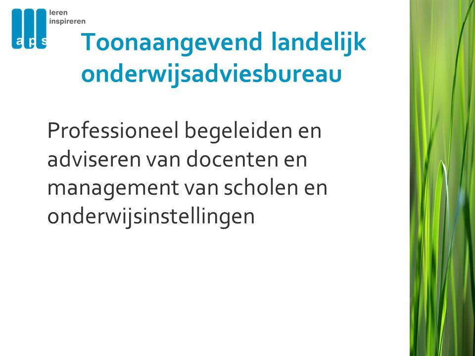 Toonaangevend landelijk onderwijsadviesbureau Professioneel begeleiden en adviseren van docenten en management van scholen en onderwijsinstellingen
