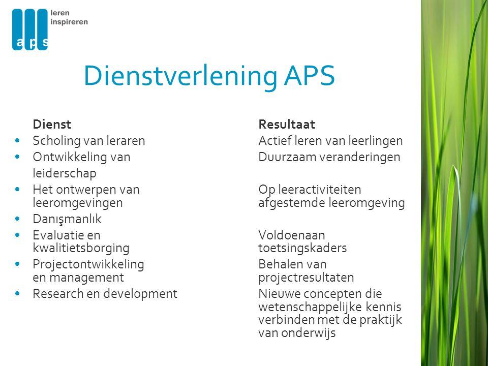 Dienstverlening APS DienstResultaat •Scholing van lerarenActief leren van leerlingen •Ontwikkeling van Duurzaam veranderingen leiderschap •Het ontwerp