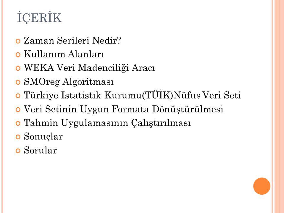 İÇERİK Zaman Serileri Nedir? Kullanım Alanları WEKA Veri Madenciliği Aracı SMOreg Algoritması Türkiye İstatistik Kurumu(TÜİK)Nüfus Veri Seti Veri Seti