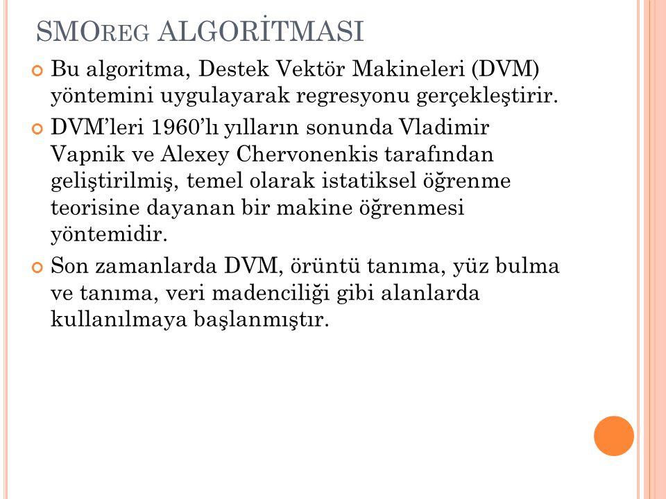 SMO REG ALGORİTMASI Bu algoritma, Destek Vektör Makineleri (DVM) yöntemini uygulayarak regresyonu gerçekleştirir.