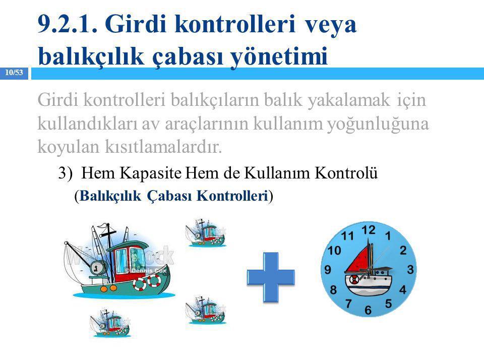 10/53 Girdi kontrolleri balıkçıların balık yakalamak için kullandıkları av araçlarının kullanım yoğunluğuna koyulan kısıtlamalardır. 3) Hem Kapasite H