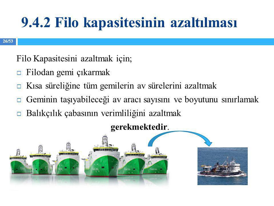 26/53 Filo Kapasitesini azaltmak için;  Filodan gemi çıkarmak  Kısa süreliğine tüm gemilerin av sürelerini azaltmak  Geminin taşıyabileceği av arac