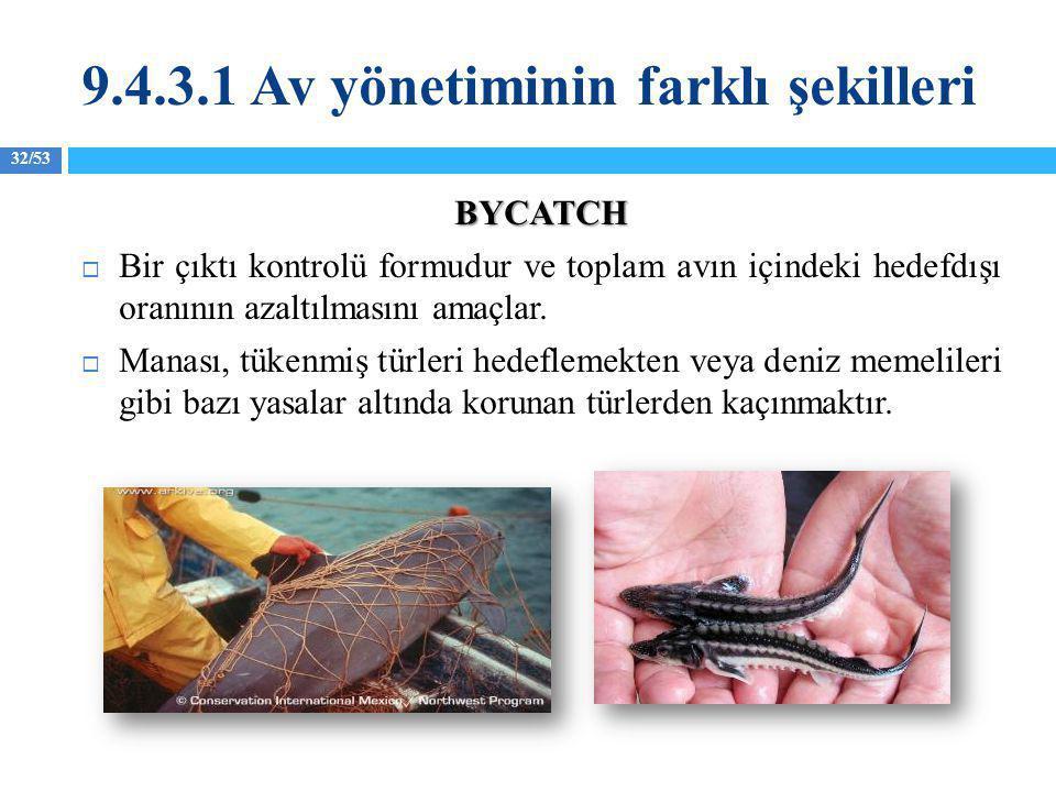 32/53 BYCATCH  Bir çıktı kontrolü formudur ve toplam avın içindeki hedefdışı oranının azaltılmasını amaçlar.  Manası, tükenmiş türleri hedeflemekten
