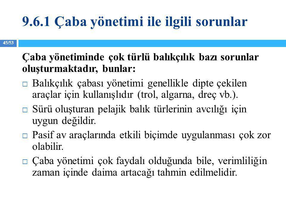 45/53 9.6.1 Çaba yönetimi ile ilgili sorunlar Çaba yönetiminde çok türlü balıkçılık bazı sorunlar oluşturmaktadır, bunlar:  Balıkçılık çabası yönetim