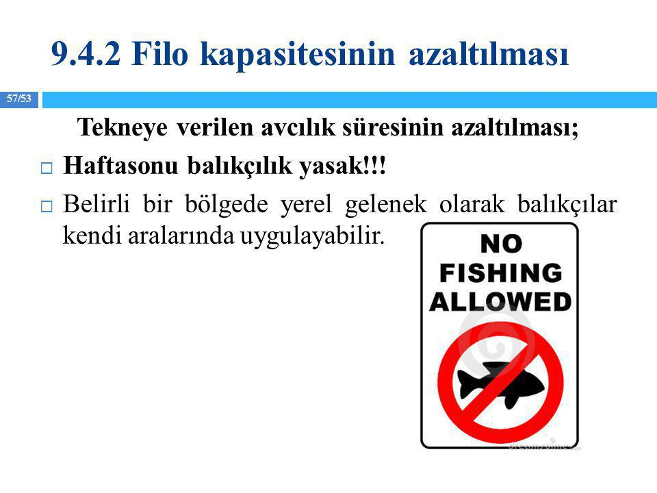 57/53 Tekneye verilen avcılık süresinin azaltılması;  Haftasonu balıkçılık yasak!!!  Belirli bir bölgede yerel gelenek olarak balıkçılar kendi arala
