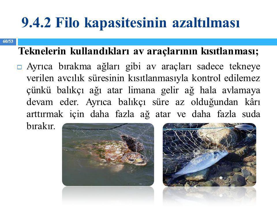60/53 Teknelerin kullandıkları av araçlarının kısıtlanması;  Ayrıca bırakma ağları gibi av araçları sadece tekneye verilen avcılık süresinin kısıtlan