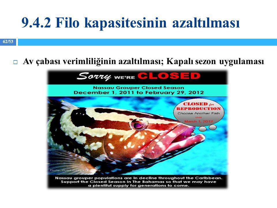 62/53  Av çabası verimliliğinin azaltılması; Kapalı sezon uygulaması 9.4.2 Filo kapasitesinin azaltılması