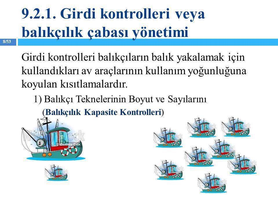 8/53 Girdi kontrolleri balıkçıların balık yakalamak için kullandıkları av araçlarının kullanım yoğunluğuna koyulan kısıtlamalardır. 1) Balıkçı Teknele