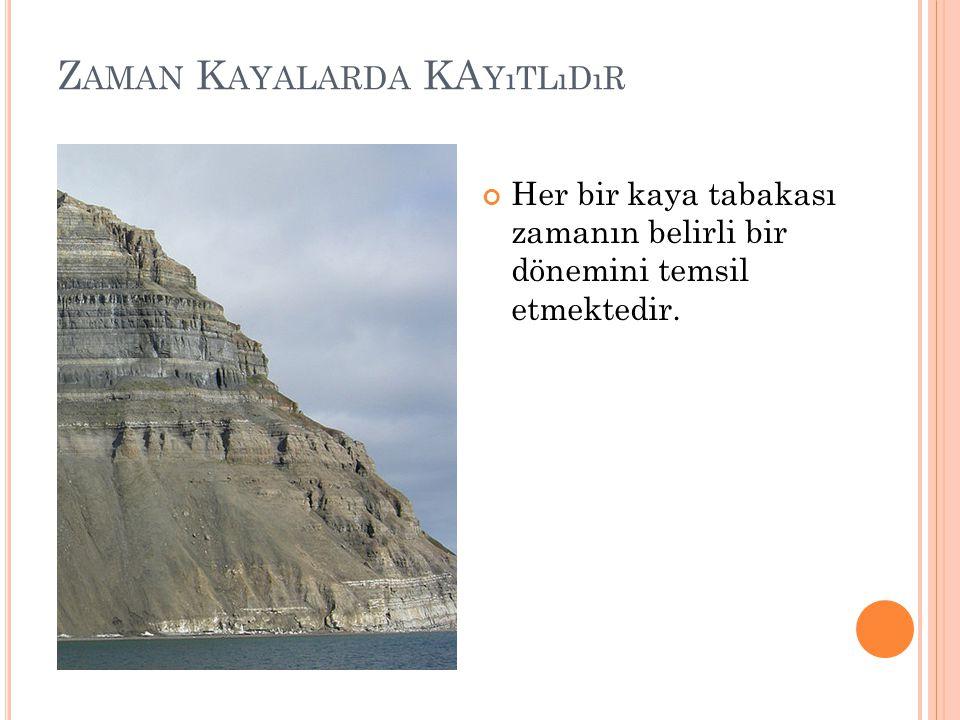 Z AMAN K AYALARDA KA YıTLıDıR Her bir kaya tabakası zamanın belirli bir dönemini temsil etmektedir.