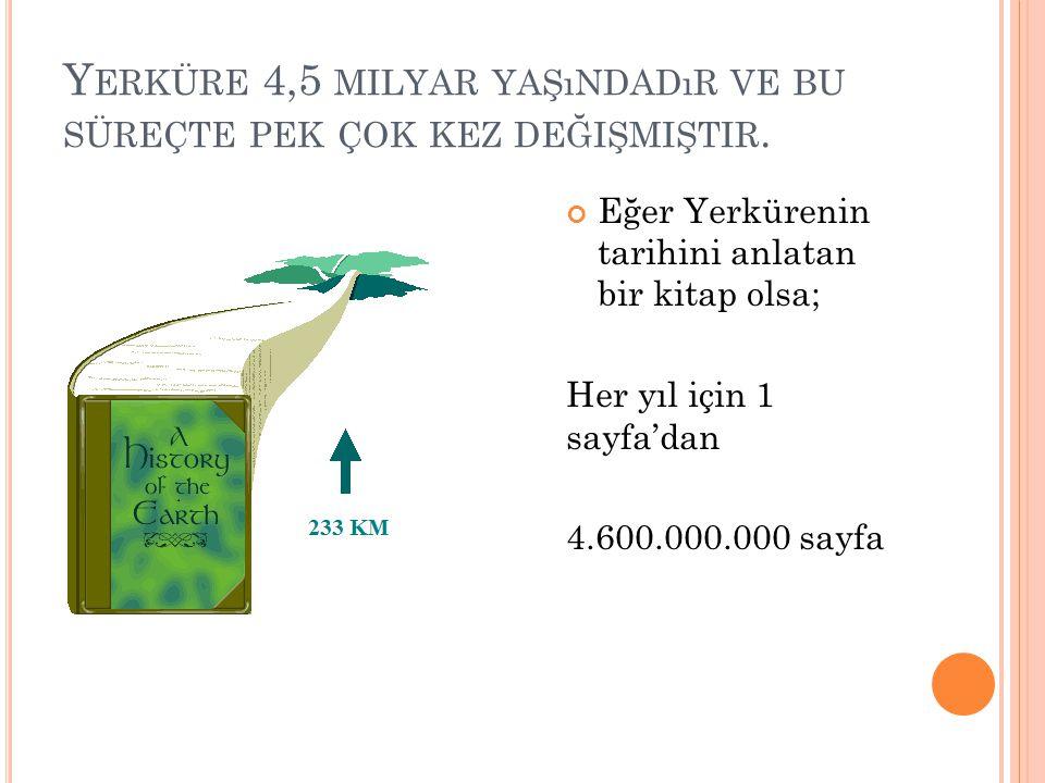 Y ERKÜRE 4,5 MILYAR YAŞıNDADıR VE BU SÜREÇTE PEK ÇOK KEZ DEĞIŞMIŞTIR. Eğer Yerkürenin tarihini anlatan bir kitap olsa; Her yıl için 1 sayfa'dan 4.600.