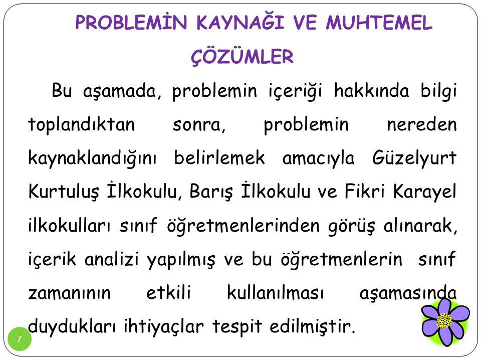7 PROBLEMİN KAYNAĞI VE MUHTEMEL ÇÖZÜMLER Bu aşamada, problemin içeriği hakkında bilgi toplandıktan sonra, problemin nereden kaynaklandığını belirlemek