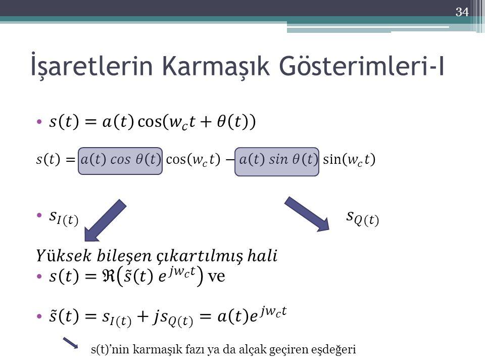 İşaretlerin Karmaşık Gösterimleri-I 34 s(t)'nin karmaşık fazı ya da alçak geçiren eşdeğeri
