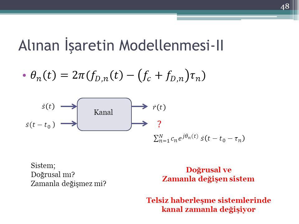 Alınan İşaretin Modellenmesi-II 48 Kanal Doğrusal ve Zamanla değişen sistem Sistem; Doğrusal mı? Zamanla değişmez mi? Telsiz haberleşme sistemlerinde