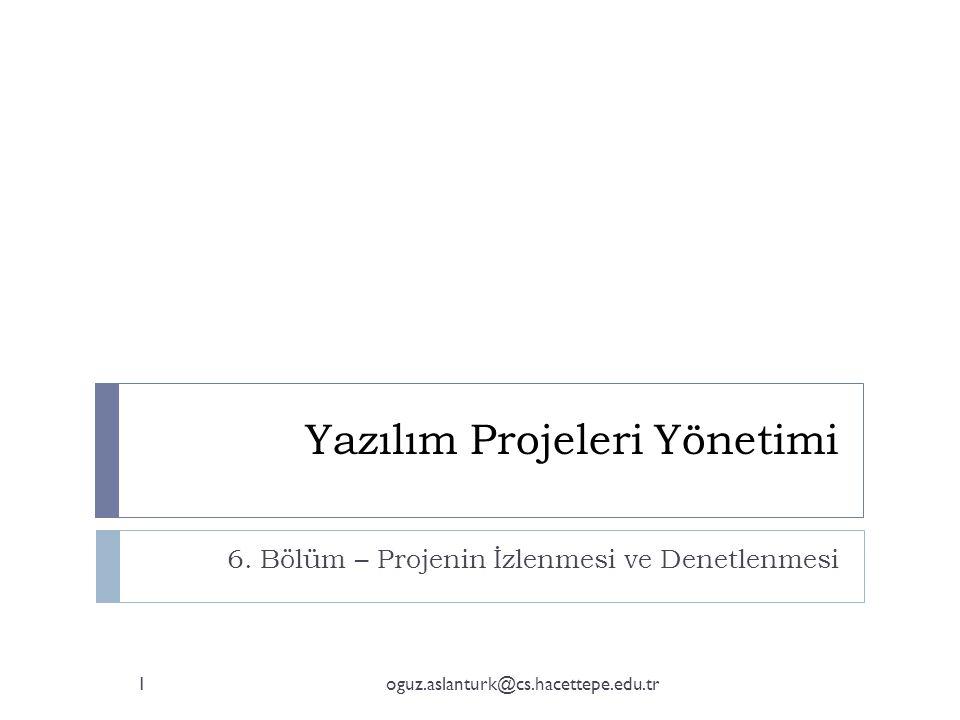 Yazılım Projeleri Yönetimi 6. Bölüm – Projenin İzlenmesi ve Denetlenmesi 1oguz.aslanturk@cs.hacettepe.edu.tr