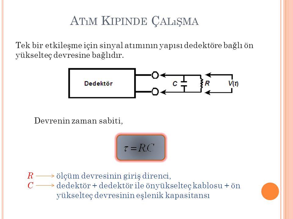 A TıM K IPINDE Ç ALıŞMA Tek bir etkileşme için sinyal atımının yapısı dedektöre bağlı ön yükselteç devresine bağlıdır. Devrenin zaman sabiti, R ölçüm