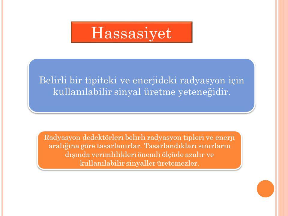 Hassasiyet Belirli bir tipiteki ve enerjideki radyasyon için kullanılabilir sinyal üretme yeteneğidir. Radyasyon dedektörleri belirli radyasyon tipler