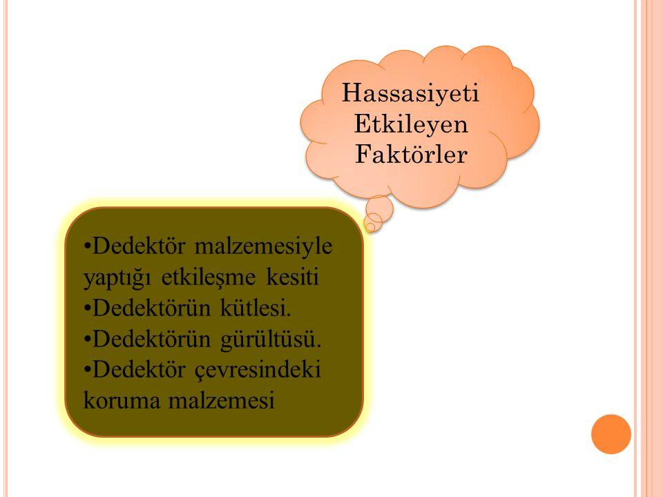 Hassasiyeti Etkileyen Faktörler •Dedektör malzemesiyle yaptığı etkileşme kesiti •Dedektörün kütlesi. •Dedektörün gürültüsü. •Dedektör çevresindeki kor