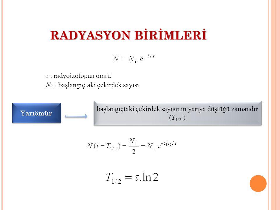 RADYASYON BİRİMLERİ τ : radyoizotopun ömrü N 0 : başlangıçtaki çekirdek sayısı YarıömürYarıömür başlangıçtaki çekirdek sayısının yarıya düştüğü zamand