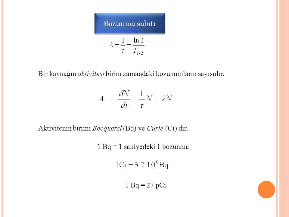 Bozunma sabiti Bir kaynağın aktivitesi birim zamandaki bozunumların sayısıdır. Aktivitenin birimi Becquerel (Bq) ve Curie (Ci) dir. 1 Bq = 1 saniyedek