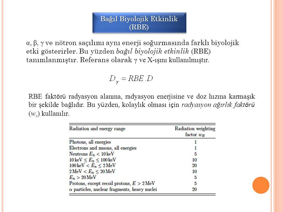 Bağıl Biyolojik Etkinlik (RBE) α, β, γ ve nötron saçılımı aynı enerji soğurmasında farklı biyolojik etki gösterirler. Bu yüzden bağıl biyolojik etkinl