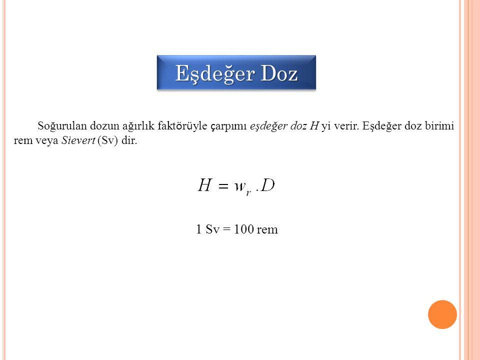 Eşdeğer Doz Soğurulan dozun ağırlık fakt ö r ü yle ç arpımı eşdeğer doz H yi verir. Eşdeğer doz birimi rem veya Sievert (Sv) dir. 1 Sv = 100 rem