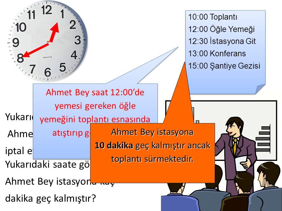 Yukarıdaki saate göre Ahmet Bey hangi programını iptal etmiştir.