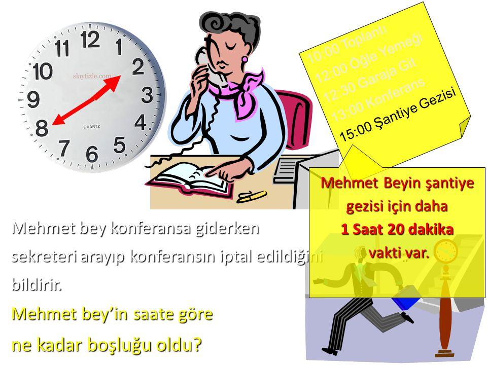 10:00 Toplantı 12:00 Öğle Yemeği 12:30 Garaja Git 13:00 Konferans 15:00 Şantiye Gezisi Mehmet bey konferansa giderken sekreteri arayıp konferansın iptal edildiğini bildirir.