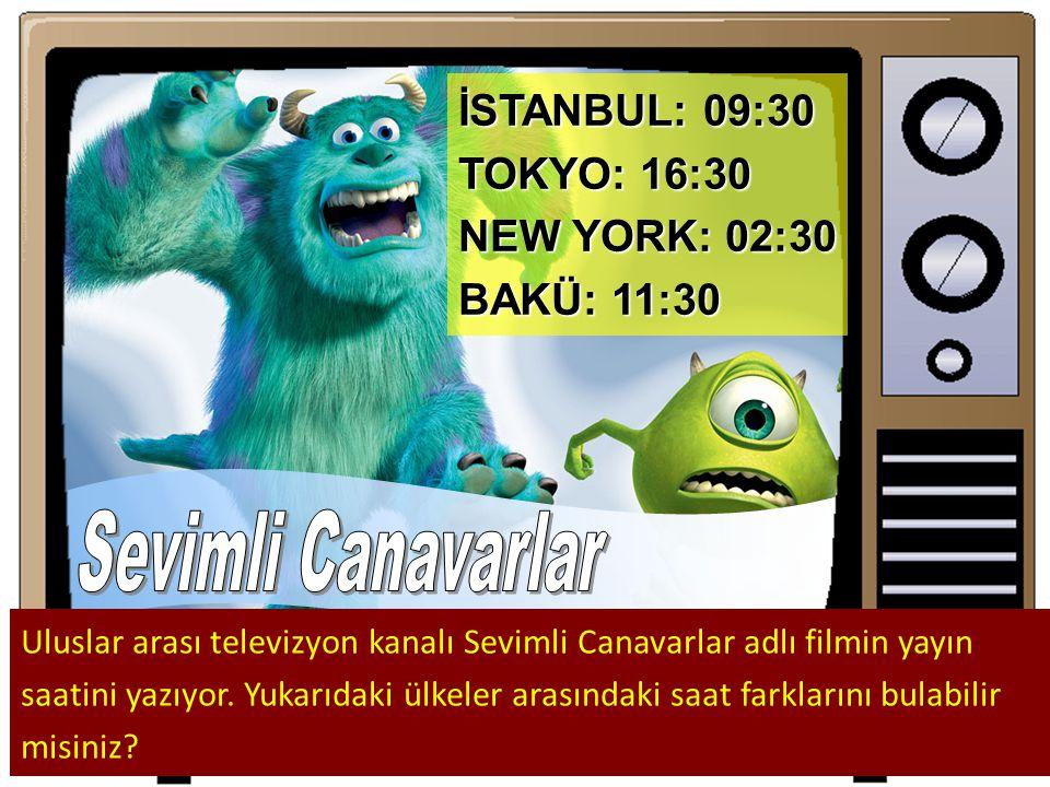 İSTANBUL: 09:30 TOKYO: 16:30 NEW YORK: 02:30 BAKÜ: 11:30 Uluslar arası televizyon kanalı Sevimli Canavarlar adlı filmin yayın saatini yazıyor.