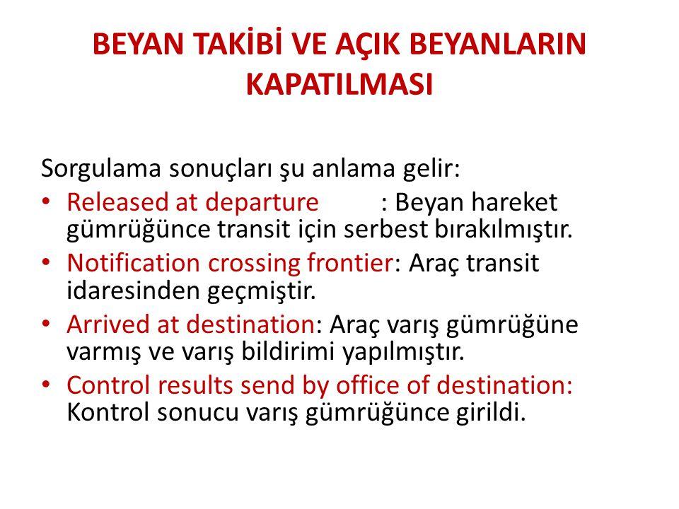 BEYAN TAKİBİ VE AÇIK BEYANLARIN KAPATILMASI Sorgulama sonuçları şu anlama gelir: • Released at departure: Beyan hareket gümrüğünce transit için serbest bırakılmıştır.