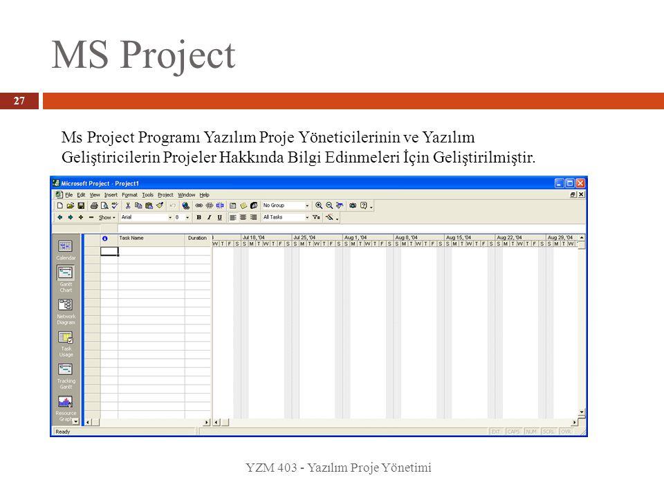 MS Project YZM 403 - Yazılım Proje Yönetimi 27 Ms Project Programı Yazılım Proje Yöneticilerinin ve Yazılım Geliştiricilerin Projeler Hakkında Bilgi Edinmeleri İçin Geliştirilmiştir.
