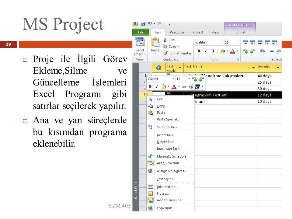 MS Project YZM 403 - Yazılım Proje Yönetimi 29  Proje ile İlgili Görev Ekleme,Silme ve Güncelleme İşlemleri Excel Programı gibi satırlar seçilerek yapılır.