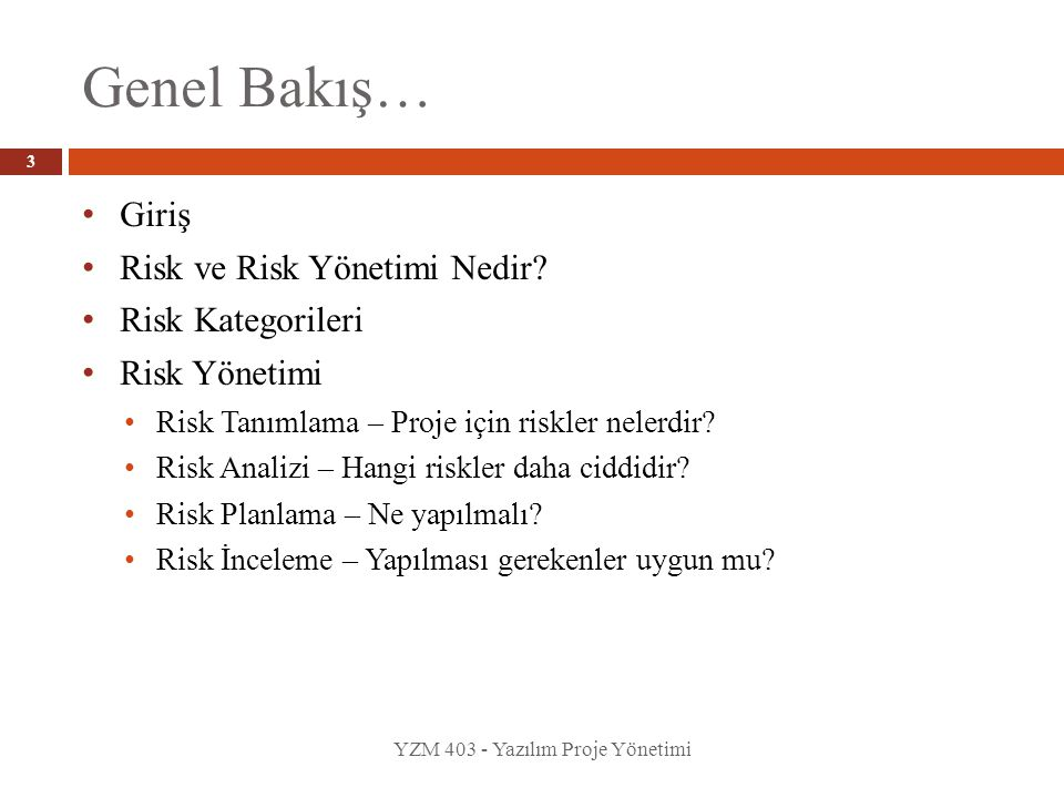 • Giriş • Risk ve Risk Yönetimi Nedir? • Risk Kategorileri • Risk Yönetimi • Risk Tanımlama – Proje için riskler nelerdir? • Risk Analizi – Hangi risk