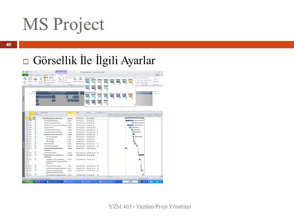 MS Project YZM 403 - Yazılım Proje Yönetimi 40  Görsellik İle İlgili Ayarlar